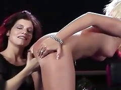 Two lesbian girls recording to a live enactment