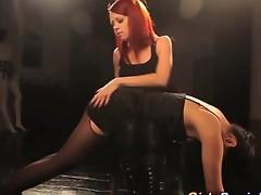Bitch goddess mistress spanks and restrains her hot slave