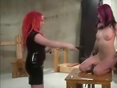 Lesbo Hawt Wax Dildos Increased by Whips